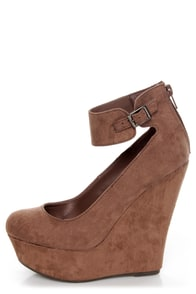 Cilo 41 Blush Brown Ankle Strap Platform Wedges at Lulus.com!