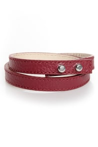 Wrist-y Business Red Leather Wrap Bracelet