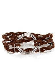 Thrice as Nice Brown Wrap Bracelet