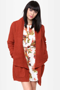 THML Brave the Storm Rust Red Sweater