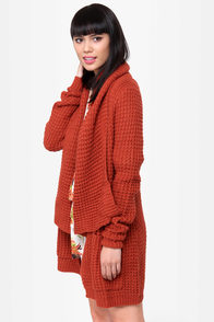 THML Brave the Storm Rust Red Sweater at Lulus.com!