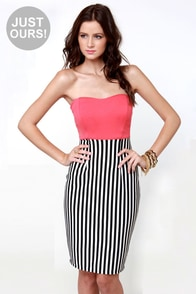 LULUS Exclusive Drive My Car Coral Striped Dress at Lulus.com!