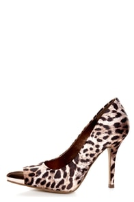 My Delicious Expo Tan Leopard Pointed Cap-Toe Pumps