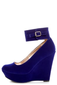 Qupid Worthy 90 Royal Blue Velvet Ankle Strap Platform Wedges at Lulus.com!