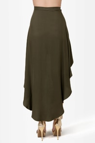 Great Expectations Olive Green High-Low Skirt