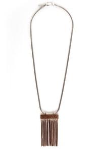 Mink Pink Snake Charmer Fringe Necklace