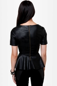Moto Booth Black Vegan Leather Peplum Top at Lulus.com!