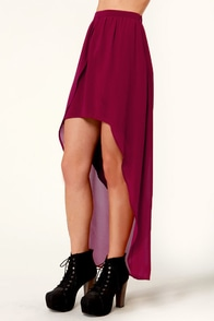 Lucca Couture Little Runaway Burgundy High-Low Skirt at Lulus.com!