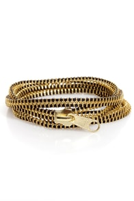 Zip Captain Gold Zipper Wrap Bracelet