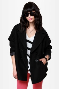 If I Was Your Boyfriend Black Coat at Lulus.com!