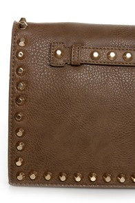 Surrounded by Studs Taupe Studded Clutch at Lulus.com!