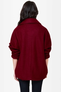 If I Was Your Boyfriend Burgundy Coat at Lulus.com!
