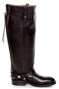 Zigi Girl Bandit Black Belted Knee High Riding Boots at Lulus.com!