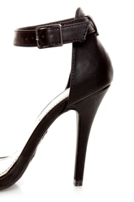 Anne Michelle Enzo 01N Black Ankle Strap Sandal Heels at Lulus.com!