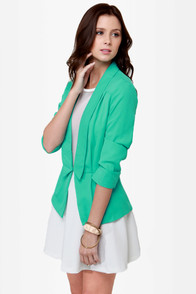 Office Romance Mint Green Blazer at Lulus.com!