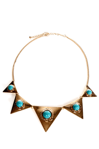 LA Goddess Gold and Turquoise Necklace at Lulus.com!