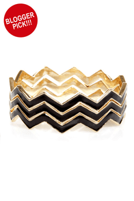 Triple Jump Black Chevron Bangle Set at Lulus.com!