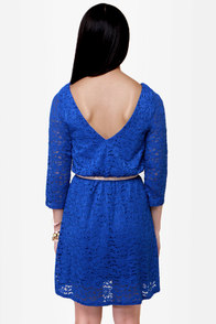 Cakewalk Blue Lace Dress at Lulus.com!