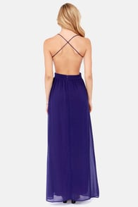 LULUS Exclusive Rooftop Garden Backless Dark Blue Maxi Dress at Lulus.com!