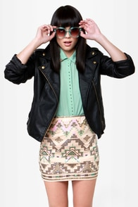 Roswell Played Beige Southwest Sequin Skirt at Lulus.com!
