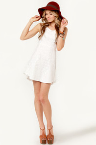 RVCA Charming Ivory Lace Dress at Lulus.com!