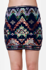 Roswell Played Navy Blue Southwest Sequin Skirt at Lulus.com!