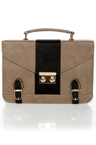 Town Plaza Black and Grey Satchel at Lulus.com!
