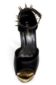 Hana 11 Black and Gold Spiked Mega Platform Heels at Lulus.com!