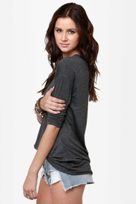 Heyday Studded Grey Top at Lulus.com!