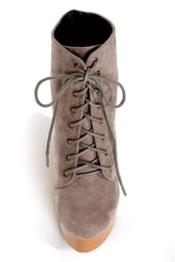 Fahrenheit Britney 01 Grey Lace-Up Studded Cutout Wedge Booties at Lulus.com!