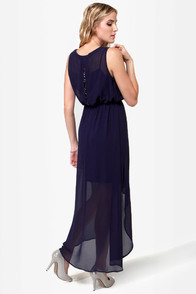 Queen of Sheba Beaded Navy Blue Dress at Lulus.com!