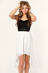 Kiss from a Rose Black and Ivory Dress at Lulus.com!