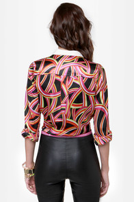 In Living Color Satin Print Top at Lulus.com!