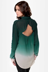 Your Loving Ombre-ce Dark Green Studded Top at Lulus.com!