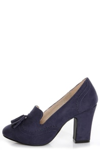 Chelsea Crew Luba Navy Blue Smoking Loafer Heels at Lulus.com!