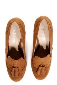 Chelsea Crew Luba Tan Smoking Loafer Heels at Lulus.com!