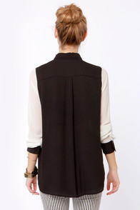 On Blockdown Black and Ivory Top at Lulus.com!