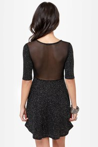 I Saw the Shine Cutout Black Glitter Dress at Lulus.com!