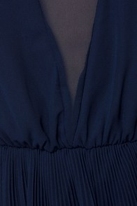 Come On Over Pleated Navy Blue Dress at Lulus.com!