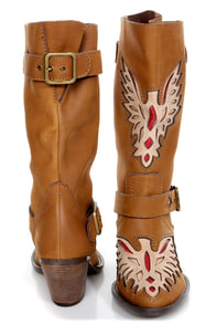 Mojo Moxy Liberty Tan Laser Cut Cowboy Boots at Lulus.com!