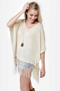Nougat Beige Poncho Top at Lulus.com!