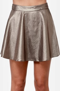 Smart Aleck Metallic Pewter Mini Skirt at Lulus.com!