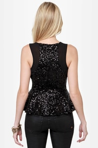 Glitterati Black Sequin Top at Lulus.com!