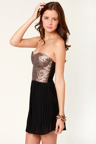 Mink Pink The Shining Black and Gold Sequin Dress at Lulus.com!