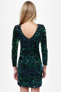 Motel Gabby Black and Green Sequin Dress at Lulus.com!
