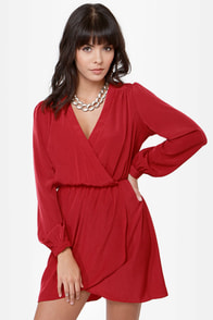 That's a Wrap Red Long Sleeve Dress at Lulus.com!