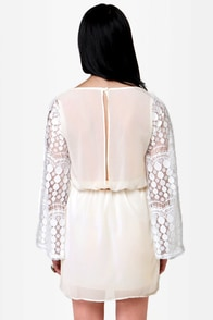 Tunnel of Love Cream Lace Dress at Lulus.com!