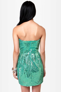Rubber Ducky Siren's Spell Teal Sequin Dress at Lulus.com!