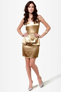 Shimmer and Shake Gold Peplum Dress at Lulus.com!