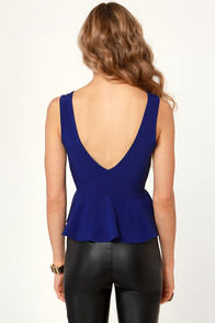 Carpe V-em Blue Peplum Top at Lulus.com!